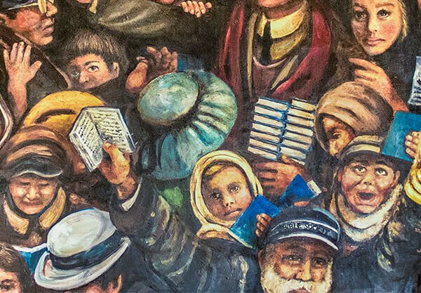 Painting of immigrants being given Bibles at Ellis Island