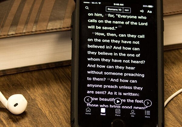 Bible text on a smartphone