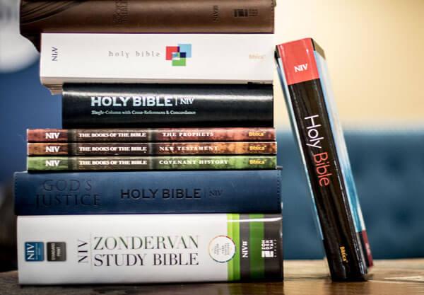 NIV Bibles on a shelf